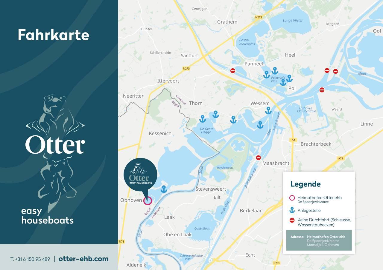 otter easy houseboats Vaarkaart_NL